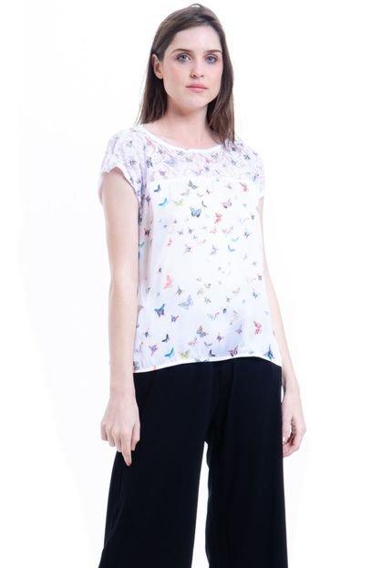 101 Resort Wear Blusa 101 Resort Wear Tunica Crepe Mangas Curtas Estampada Borboletinhas zNnNT