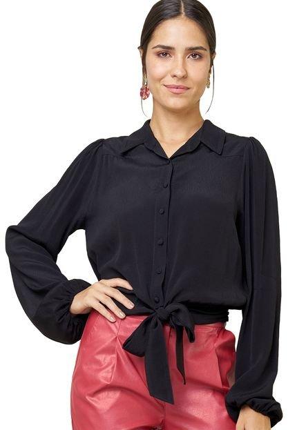 MX Fashion Camisa de Viscose com Amarração Haidê Preta p1sUN