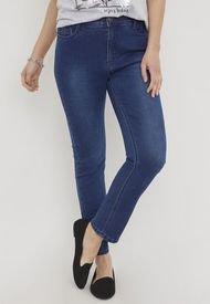 Jeans Tiro Alto Push Up Azul Medio - Mujer Corona