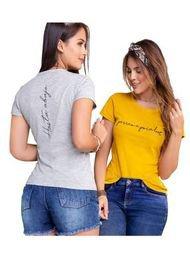 Camiseta Paq X2 Juvenil Femenino Bicolor Mostaza Y Gris Jaspe Atypical
