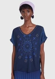 Polera Desigual T Shirt Ophelia Azul - Calce Regular