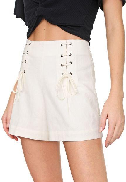 Dress to Short Linho Dress to Amarração Off-White Yxnwy