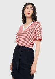Camiseta Rojo-Blanco Lacoste